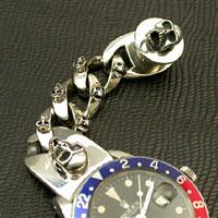 シルバー925ブレスレット スカルモチーフ 腕時計用(20mm)