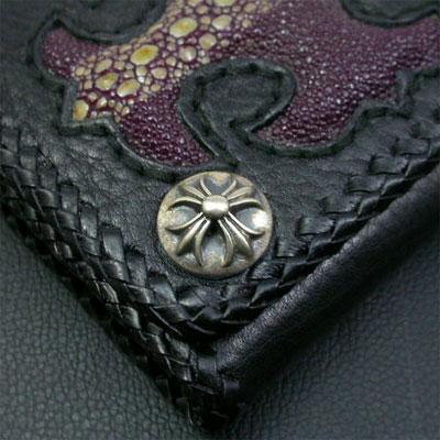 シルバーポイント 革財布 クロスモチーフ 紫 ロング三つ折