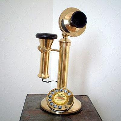 英国製 アンティーク電話機 ゴールド 縦型 フラット
