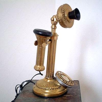 英国製 アンティーク電話機 ゴールド 縦型 ウェーブ