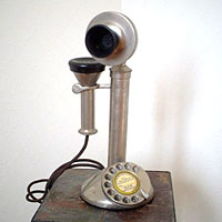 英国製 アンティーク電話機 シルバー 縦型 フラット
