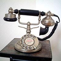 英国製 アンティーク電話機 シルバー 横型 ウェーブ