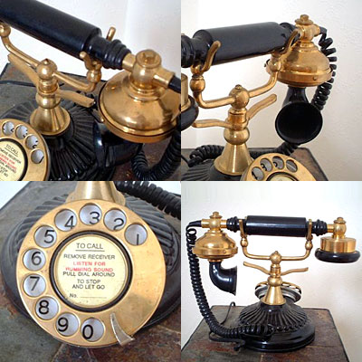 英国製 アンティーク電話機 ブラック 横型 ウェーブ