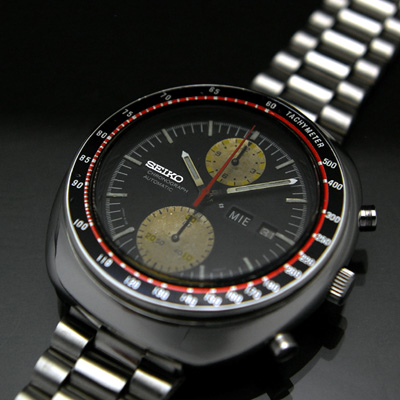 セイコー ビッグダブルクロノ 黒文字盤 赤黒ベゼル 6138 アンティークウオッチ