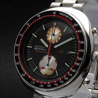 セイコー ビッグダブルクロノ 5スポーツ スピードタイマー クロノグラフ 赤黒ベゼル アンティークウオッチ