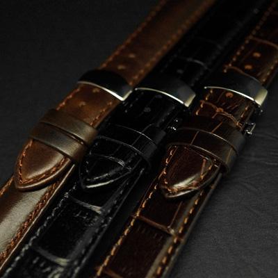 腕時計用 革ベルト 18mm Dバックル仕様 ブラック クロコ型押し