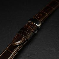 腕時計用 革ベルト 20mm Dバックル仕様 ブラウン クロコ型押し